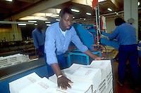 - African immigrant working in a bindery....- immigrato africano al lavoro in una legatoria