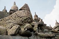 Borobudur, Java, Indonesia.  Gargoyle.