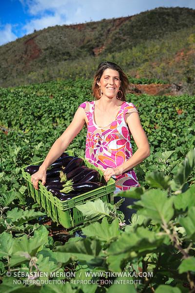 Emmanuelle Rigot, agricultrice au Mont-Dore (chouchoute, aubergine, igname)