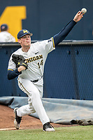 Michigan Wolverines pitcher Ben Keizer (14) warms up in the bullpen before the Big Ten baseball game against the Maryland Terrapins on April 13, 2018 at Ray Fisher Stadium in Ann Arbor, Michigan. Michigan defeated Maryland 10-4. (Andrew Woolley/Four Seam Images)