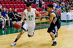 Au Yeung Wai Kong #41 of Tycoon Basketball Team (L) dribbles the ball up court against Yeung Chung Kiu #27 of Eagle Basketball Team (R) during the Hong Kong Basketball League game between Tycoon vs Eagle at Southorn Stadium on May 11, 2018 in Hong Kong. Photo by Yu Chun Christopher Wong / Power Sport Images