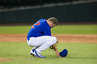 AZL Cubs relief pitcher Mitch Stophel (62) takes time to himself before taking the mound against the AZL Padres 2 on August 28, 2017 at Sloan Park in Mesa, Arizona. AZL Cubs defeated the AZL Padres 2 9-4. (Zachary Lucy/Four Seam Images)
