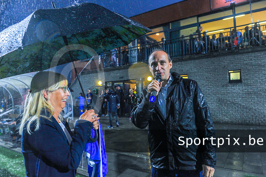 chairwoman Jacqueline Mahieux and mayor Wim Dries pictured before a female soccer game between  Racing Genk Ladies and Sporting du pays de Charleroi on the fourth matchday of the 2021-2022 season of the Belgian Scooore Womens Super League , friday 10 September 2021  in Genk , Belgium . PHOTO SPORTPIX   STIJN AUDOOREN