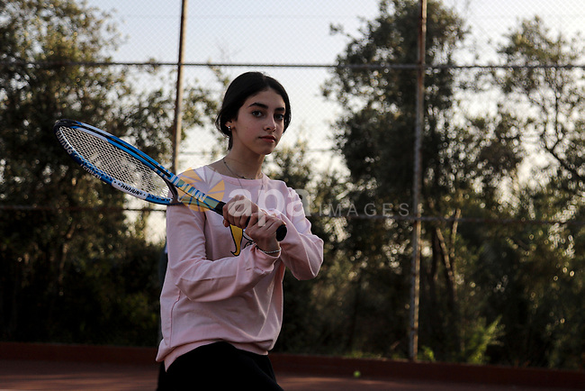 Palestinian girls play Tennis Sport, at Champions Club, on The International Day of Sport for Development and Peace, in Gaza city, on April 6, 2021. The International Day of Sport for Development and Peace on 6 April presents an opportunity to recognize the role that sport and physical activity plays in communities and in people's lives across the world. Photo by Mohammed Salem