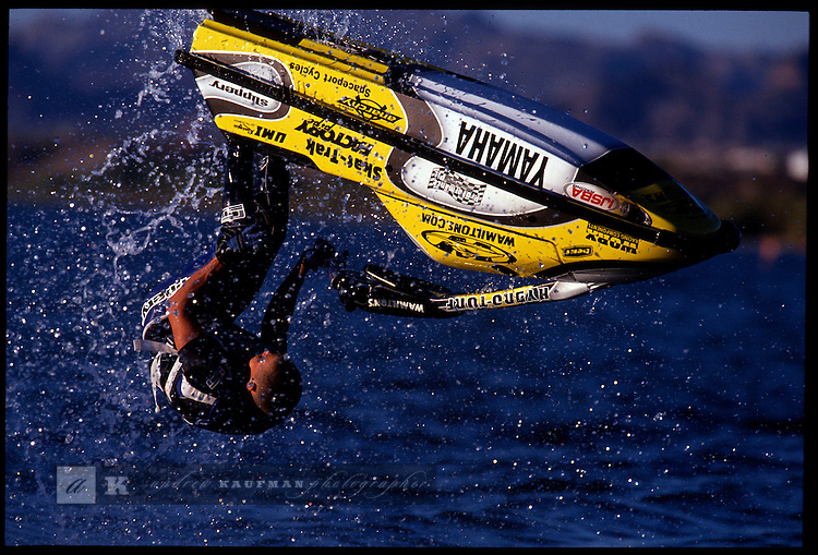October 8-15. Lake Havasu, Arizona. Racers perform during  the IJSBA WORLD CHAMPIONSHIPS of Jet boat racing.