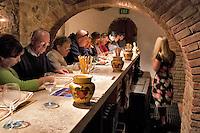 People wine tasting at Castello di Amorosa. Napa Valley, California. Property relased