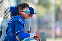 Los Angeles Dodgers catcher Diego Cartaya (91) during an Instructional League game against the Oakland Athletics at Camelback Ranch on September 27, 2018 in Glendale, Arizona. (Zachary Lucy/Four Seam Images)