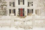 Hayden House, 1847, in winter with snow. Essex, CT.