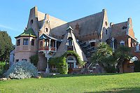 """Rome, villa Torlonia: """"La Casina delle Civette"""" (The Little House of the Owls), in its typical style that remembers the Middle Ages. The name is due to the owls represented in the stained glass windows."""