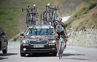Jan Bakelants (BEL/Ag2r-LaMondiale) up the Col d'Allos (1C/2250m/14km/5.5%)<br /> <br /> stage 17: Digne-les-Bains - Pra Loup (161km)<br /> 2015 Tour de France
