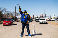 Protestors block the street as students drop a banner over the Martin Olav Savo Bridge while demanding justice for George Floyd during the Derek Chauvin Trial on April 1, 2021 in Minneapolis, Minnesota. <br /> CAP/MPI/IS/CT<br /> ©CT/IS/MPI/Capital Pictures
