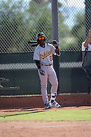 """Lazaro """"Lazarito"""" Armenteros, 17-year-old native of Cuba. plays for the Oakland Athletics instructional league team in a game against the Milwaukee Brewers at the Brewers complex on September 30, 2016 in Phoenix, Arizona. Armenteros signed with Oakland for a $3 million bonus in July 2016 (Bill Mitchell)"""