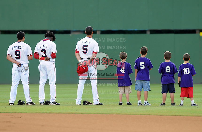 Photo of the Potomac Nationals, Carolina League affiliate of the Washington Nationals, prior to a game against the Salem Red Sox on June 16, 2011, at Pfitzner Stadium in Woodbridge, Va. Photo by Tom Priddy / Four Seam Images