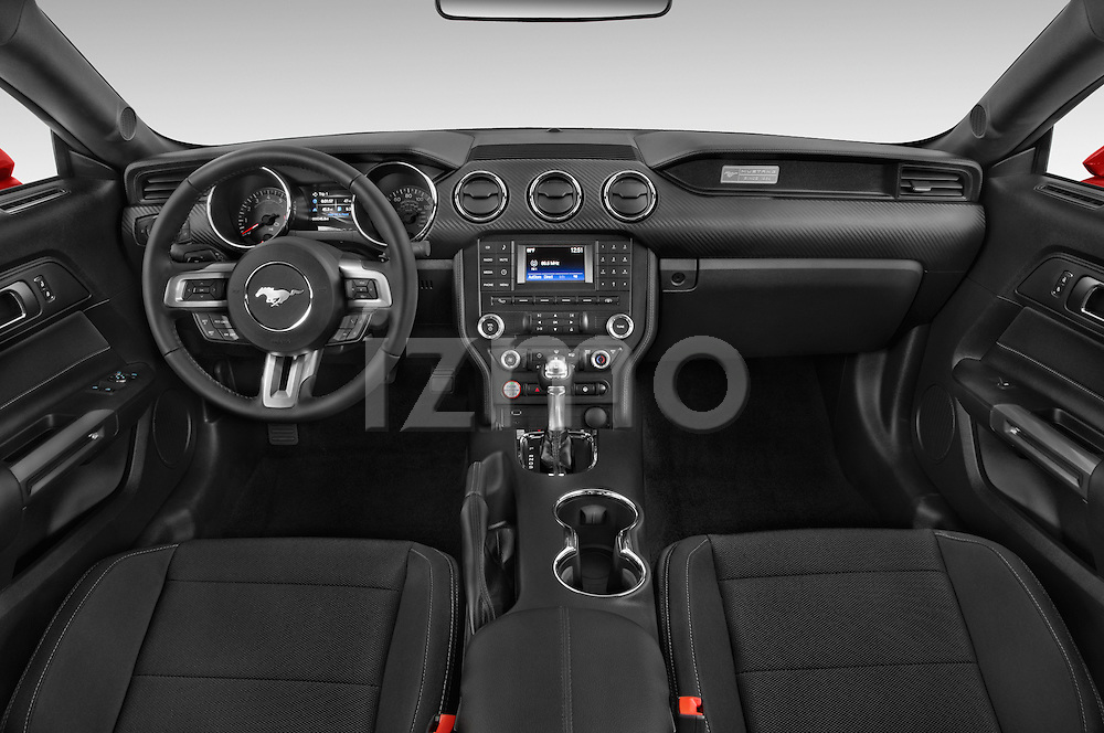 Stock photo of straight dashboard view of a 2017 Ford Mustang V6 2 Door Coupe Dashboard