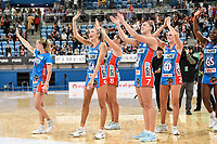 6th June 2021; Ken Rosewall Arena, Sydney, New South Wales, Australia; Australian Suncorp Super Netball, New South Wales, NSW Swifts versus Giants Netball; Helen Housby and Sarah Klau of NSW Swifts acknowledge fans after the game in which the Swifts won 63-51