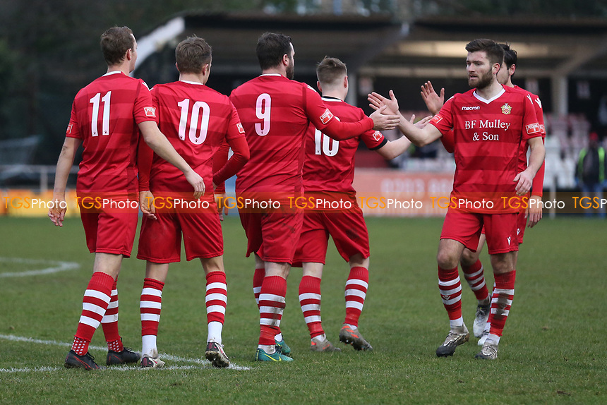 Sam Higgins of Hornchurch scores the third goal for his team and celebrates during Hornchurch vs Maidstone United, Buildbase FA Trophy Football at Hornchurch Stadium on 6th February 2021