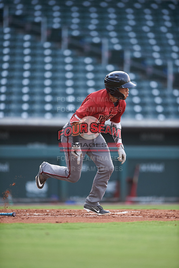 AZL D-backs Ismael Jaime (7) runs to first base during an Arizona League game against the AZL Cubs 1 on July 25, 2019 at Sloan Park in Mesa, Arizona. The AZL D-backs defeated the AZL Cubs 1 3-2. (Zachary Lucy/Four Seam Images)