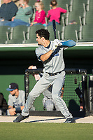 Willie Abreu (6) of the Asheville Tourists takes practice swings prior to the game against the Kannapolis Intimidators at Kannapolis Intimidators Stadium on May 8, 2017 in Kannapolis, North Carolina.  The Tourists defeated the Intimidators 7-5.  (Brian Westerholt/Four Seam Images)