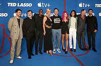 WEST HOLLYWOOD, CA - JULY 15: Jeremy Swift, Moe Jeudy-Lamour, Hannah Waddingham, Jason Sudeikis, Juno Temple, Cristo Fernández, Brendan Hunt, and Brett Goldstein, at Apple TV+ Ted Lasso Season 2 Premiere at The Rooftop at The Pacific Design Center in West Hollywood, California on July 15, 2021. <br /> CAP/MPIFS<br /> ©MPIFS/Capital Pictures