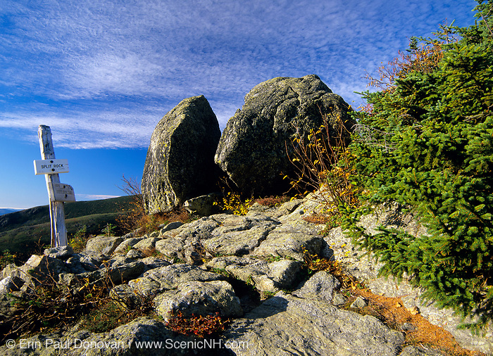 Split Rock located along Boott Spur Trail in Sargent's Purchase, New Hampshire. Split Rock is a glacial erratic. And this area is within the White Mountain National Forest.