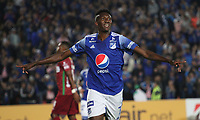 BOGOTÁ - COLOMBIA, 06-02-2020: Hansel Zapata de Millonarios  celebra después de anotar un gol  contra Always Ready  durante partido entre Millonarios de Colombia y Always Ready  de Bolivia por la primera fase, ida, de la Copa CONMEBOL Sudamericana 2020 jugado en el estadio Nemesio Camacho El Campín  de la ciudad de Bogotá. /Hansel Zapata of Millonarios  celebrates after scoring a goal agaisnt of Aways Ready  during match between Millonarios  of Colombia and Always Ready  of Bolivia for the first phase as part of Copa CONMEBOL Sudamericana 2020 played at Nemesio Camacho El Campin stadium of Bogota city. Photo: VizzorImage / Felipe Caicedo / Staff