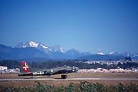 "Boeing B-17G Flying Fortress (""Texas Raiders"") taxiing on Runway - at Abbotsford International Airshow, BC, British Columbia, Canada"