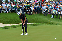 6th June 2021; Dublin, Ohio, USA; Patrick Cantlay (USA) watches his par putt on 18 during the Memorial Tournament final round at Muirfield Village Golf Club