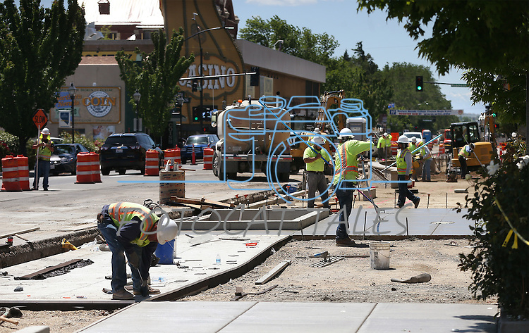 Construction continues on downtown Carson City, Nev., on Wednesday, June 1, 2016. <br /> Photo by Cathleen Allison