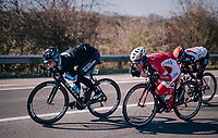 Ben Perry (CAN/Israel Cycling Academy) & Kenneth Vanbilsen (BEL/Cofidis) tucked for speed<br /> <br /> 70th Kuurne-Brussel-Kuurne 2018<br /> Kuurne › Kuurne: 200km (BELGIUM)