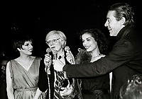 Minelli Warhol Jagger Halston6857.JPG<br /> New York, NY 1978 FILE PHOTO<br /> Liza Minelli, Andy Warhol, Bianca Jagger, Halston<br /> Studio 54<br /> Digital photo by Adam Scull-PHOTOlink.net<br /> ONE TIME REPRODUCTION RIGHTS ONLY<br /> NO WEBSITE USE WITHOUT AGREEMENT<br /> 718-487-4334-OFFICE  718-374-3733-FAX