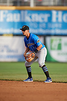 Akron RubberDucks second baseman Mark Mathias (12) during a game against the Harrisburg Senators on August 18, 2018 at FNB Field in Harrisburg, Pennsylvania.  Akron defeated Harrisburg 5-1.  (Mike Janes/Four Seam Images)