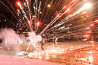 The rioters explode firecrackers and crude bommbs  in sign of  protest against new draconian law to ban protestsacross the country.  Kiev. Ukraine