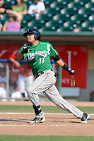 Dayton Dragons shortstop Humberto Valor (11) during a game against the Lansing Lugnuts on August 25, 2013 at Cooley Law School Stadium in Lansing, Michigan.  Dayton defeated Lansing 5-4 in 11 innings.  (Mike Janes/Four Seam Images)