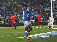 BOGOTA -COLOMBIA, -11-03-2017.Harold Mosquera player of Millonarios celebrates his goal agaisnt  of America Cali during match for the date 9 of the Aguila League I 2017 played at Nemesio Camacho El Campin stadium . Photo:VizzorImage / Felipe Caicedo  / Staff