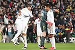 Real Madrid's Sergio Ramos, Carlos Henrique Casemiro, Thibaut Courtois, Marcelo Vieira and Raphael Varane celebrate the victory in La Liga match. March 1,2020. (ALTERPHOTOS/Acero)