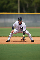 GCL Yankees East third baseman Jesus Graterol (6) during the first game of a doubleheader against the GCL Blue Jays on July 24, 2017 at the Yankees Minor League Complex in Tampa, Florida.  GCL Blue Jays defeated the GCL Yankees East 6-3 in a game that originally started on July 8th.  (Mike Janes/Four Seam Images)
