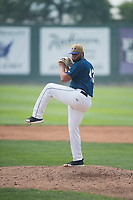Helena Brewers relief pitcher Roberto Delgado (43) delivers a pitch during a Pioneer League game against the Grand Junction Rockies at Kindrick Legion Field on August 19, 2018 in Helena, Montana. The Grand Junction Rockies defeated the Helena Brewers by a score of 6-1. (Zachary Lucy/Four Seam Images)