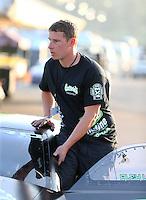 Feb 13, 2016; Pomona, CA, USA; NHRA pro stock driver Alex Laughlin during qualifying for the Winternationals at Auto Club Raceway at Pomona. Mandatory Credit: Mark J. Rebilas-USA TODAY Sports
