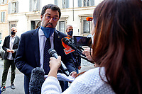 The secretary of Lega Nord right party Matteo Salvini enters the Senate, where the Italian Prime Minister is about to make the information on the new European Council. Rome (Italy) June 17th 2017<br /> Samantha Zucchi Insidefoto