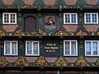 Hoppener Haus mit Bild Ernst der Bekenner,  Poststr. 8, Celle, Niedersachsen, Deutschland, Europa<br /> Hopperer House with portrait Ernst der Bekenner, Celle, Lower Saxony, Germany, Europe