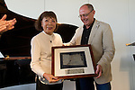 "The japanese pianist Toshiko Akiyoshi receives the ""Donostiako  Jazzaldia"" Award and offers a piano concert in the Basque Culinary Center during the 49th Heineken Jazzaldia in San Sebastian to July 25 of 2014. In the image Toshiko Akiyoshi (L) and Juan Carlos lzagirre (R) (Mayor of San Sebastian)"