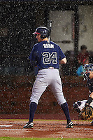 Mississippi Braves outfielder David Rohm (24) at bat in the rain during a game against the Mobile BayBears on April 28, 2015 at Hank Aaron Stadium in Mobile, Alabama.  The game was suspended after the top of the second inning with Mobile leading 3-0, the BayBears went on to defeat the Braves 6-1 the following day.  (Mike Janes/Four Seam Images)