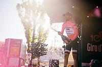 Tom Dumoulin's (NED/Sunweb) pink champagne shower routine<br /> <br /> 100th Giro d'Italia 2017<br /> Stage 13: Reggio Emilia › Tortona (167km)