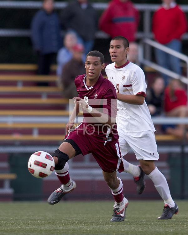 Harvard University defender Obiajulu Charles Agha (8) on the attack. Boston College defeated Harvard University, 2-0, at Newton Campus Field, October 11, 2011.