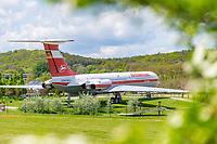 """Historisches Flugzeug """"Agnes"""", Iljuschin IL 62 der DDR-Fluglinie Interflug, Otto Lilienthal Zentrum, Stölln, Gollenberg, Havelland, Brandenburg, Deutschland"""