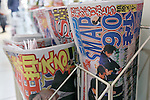 Japanese tabloids report the news of SMAP X SMAP's final episode on their front pages, December 27, 2016, Tokyo, Japan. Hugely popular boy band SMAP appeared for the last time as a group on their hit TV show SMAP X SMAP whose final episode aired December 26.  SMAP will officially split on December 31. The show's run spanned 20 years and nine months with a total of 920 episodes on Fuji TV. (Photo by Rodrigo Reyes Marin/AFLO)