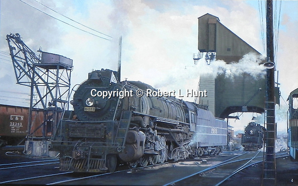 """A Louisville and Nashville Railroad M1 at leaving the coaling dock at DeCoursey, Kentucky yard in 1956, the last year of steam operations on that line. Oil on canvas, 20"""" x 30""""."""