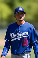 Los Angeles Dodgers pitcher Juan Morillo (8) walks off the field between innings during an Instructional League game against the Chicago White Sox on September 30, 2017 at Camelback Ranch in Glendale, Arizona. (Zachary Lucy/Four Seam Images)
