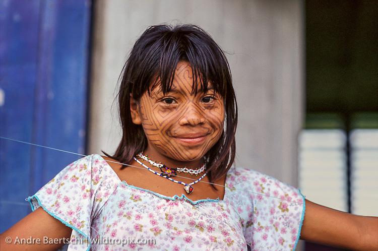 Cashinahua Indian girl, Boca Curanja, Alto Purus Communal Reserve, lowland tropical rainforest, Ucayali, Peru