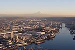 Seattle, Duwamish River, Mount Rainier, Aerial, Port of Seattle, Elliott Bay, Puget Sound, industrial, area, EPA, Super Fund Site, Washington State, Pacific Northwest, North America, USA,